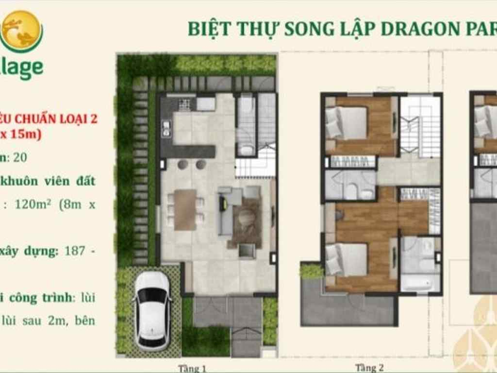 Biệt thự song lập dự án dragon village 8x 15m