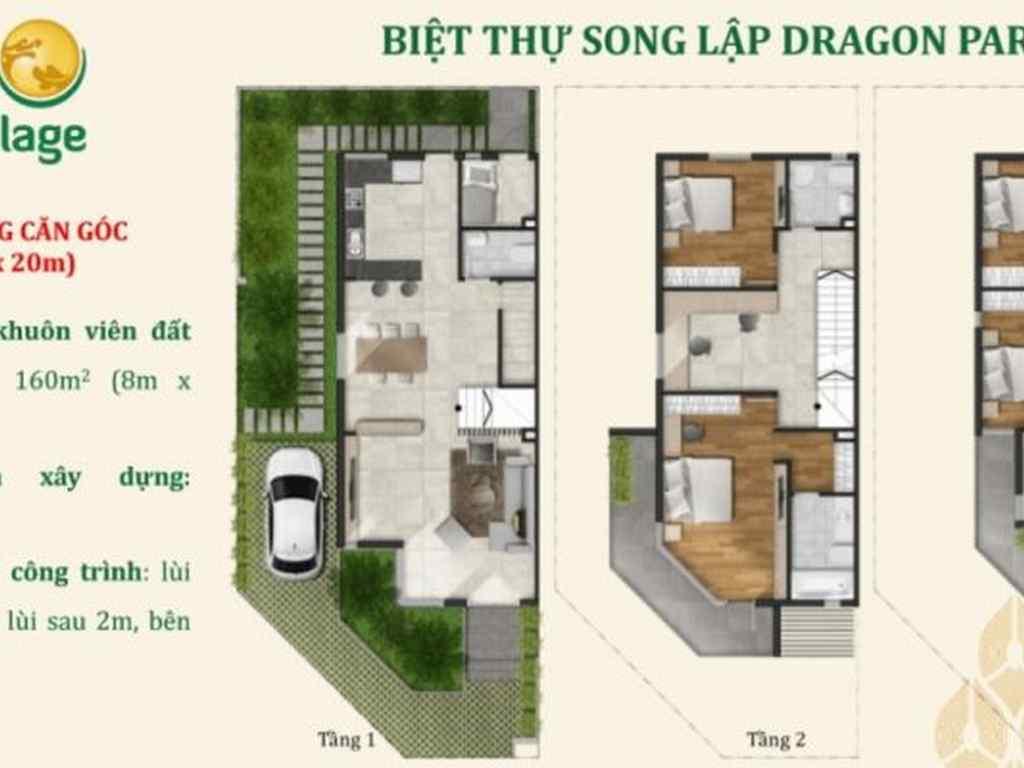 Căn góc biệt thự song lập dự án dragon village 8m x 20 m
