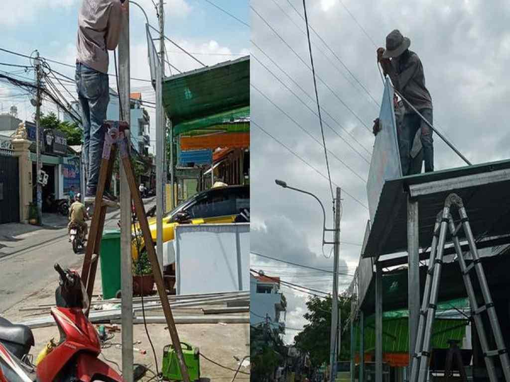 Thợ lắp biển quảng cáo trên mái tôn