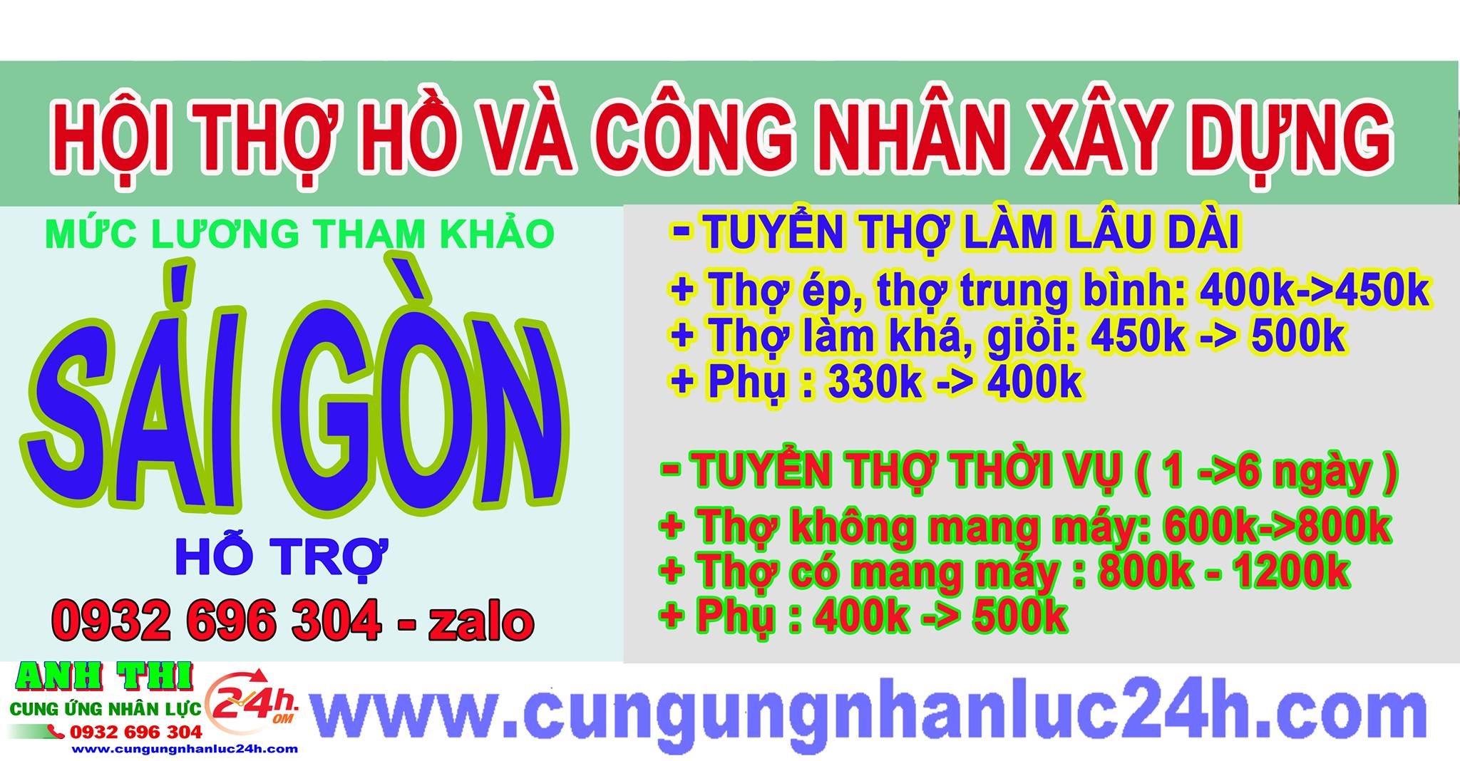 Mức lương thợ hồ phụ hồ tại Sài Gòn