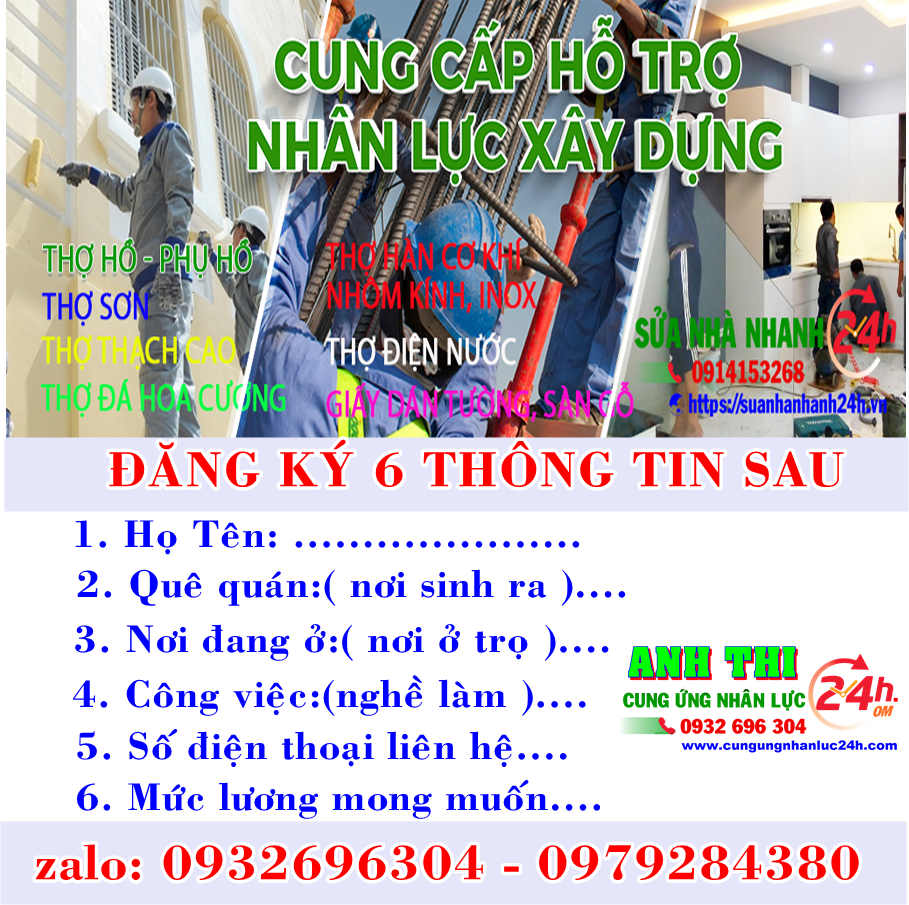 Cung cấp thợ hồ phụ hồ